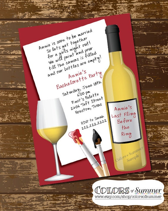 paint wine party invitation painting party bachelorette