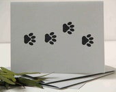 paw print cards, cat print cards set of 4, hand stamped cards, simple style, cat theme