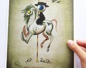 "8x12 fine art print - ""Pestilence"" Four Horsemen of the Apocalypse - Creepy carousel horse - lowbrow art"