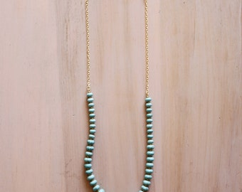 Turquoise Rondelle Beaded and Gold Chain Necklace