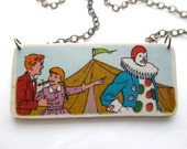 LAUGH CLOWN LAUGH paper ephemera wearable art necklace - vintage image - upcycled - bronze chain