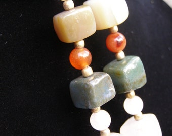 Vintage Multi Gemstone Chunky Necklace 1940's 1950's Agate Jade Quartz Carnellian 168 Grams