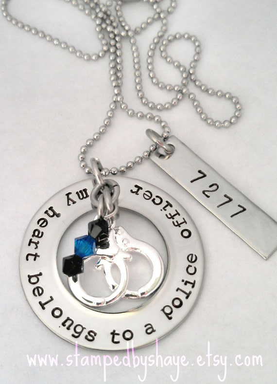 My Heart Belongs to a Police Officer Police Officer Necklace Jewelry Police Wife Gift for Police Wife