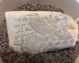 Lavender Sachet - Certified Organic Lavender - Place in a drawer or hang from rearview mirror - with bird image