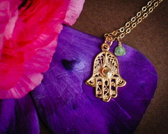 Gold Hamsa Necklace - Hand Filigree Charm Pendant Necklace with birthstone, Lucky Protection Necklace, Good Luck Necklace, Evil Eye Necklace
