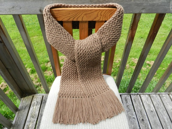 Knitting Loom Scarf Fringe : Brown Knit Scarf Loom Knitted Mens Brown by yarnworksandmore