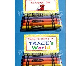 Elmo's World Goldfish & Crayons Favor Bag Fold Over signs- Customized Digital File