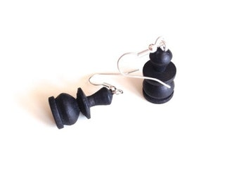 Wooden black pawn chess earrings, chess, silver plated loop earrings, vintage chess pieces, wooden, geek