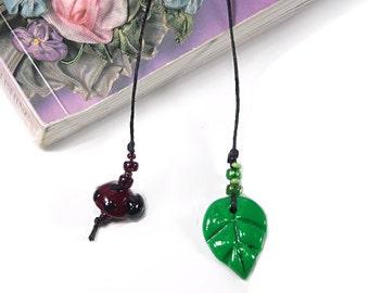 Lady Bug Bookmark, Leaf Book Thong, Beaded Garden Bookmark, Gifts for Gardeners, Bug Bookmark