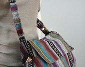 Hippie Messenger Bag Handbags Nepali Woven Bag Crossbody Bag Camera Bag Boho Bag Cotton Shoulder Bag Tribal Purse Ethnic Bag, Blue Gray