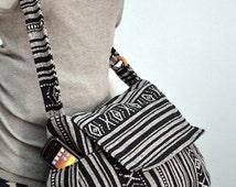Hippie Messenger Bag Handbags Nepali Woven Bag Crossbody Bag Camera Bag Boho Bag Cotton Shoulder Bag Tribal Purse Ethnic Bag, Black White