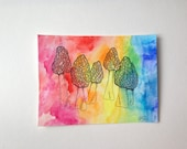 Morel Mushroom // Ink Drawing & Watercolor // Tie-Dye Rainbow // Original Art