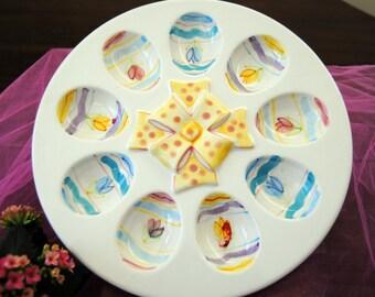 1970's Deviled Eggs Platter - Colorful , 9 Slots - Vintage - Great for Easter!