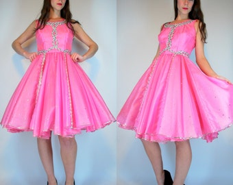 MOD BUBBLEGUM Pink Barbie 70s 50s Prom Dress. Vintage Retro Full Circle Skirt. High Waist Princess Sequin Beaded Tulle PARTY dance Costume.