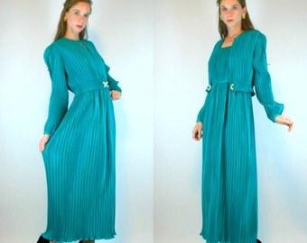 50% OFF SALE Grecian FORTUNY style Emerald Art Deco Dress. Boho Party Maxi. Rhinestone Bolero Jacket. Accordion Pleated. Extra Small - Small