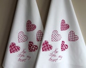Valentines Tea Towel Screen Printed Organic Cotton Heart design Flour Sack Tea Towel - Kitchen Towel for Dishes red