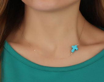 """Turquoise cross necklace, gold sideways cross necklace, asymmetric necklace, turquoise jewelry, best friend gift, everyday necklace, """"Eris"""""""