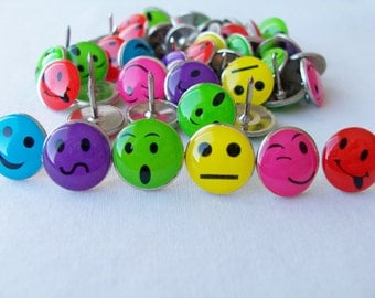50 Cute faces metal push pins - bright colourful funny thumb tacks - cork board accessories - office/school accessories - craft supplies