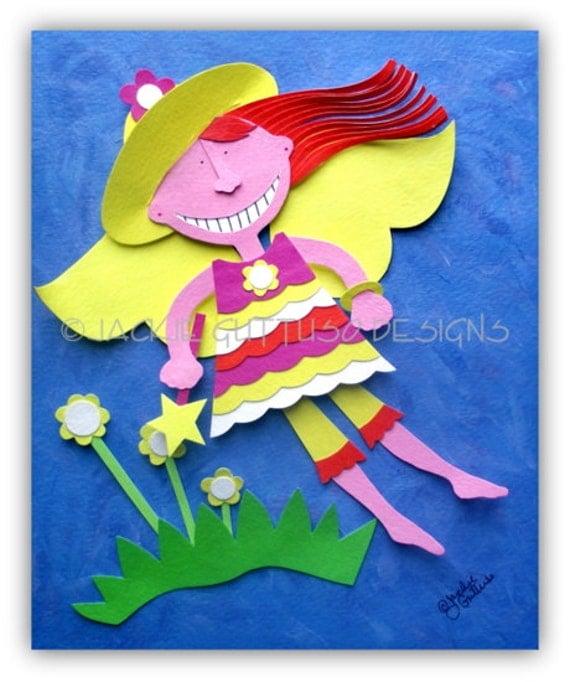 Fairy paper sculpture collage, Original, Garden fairy art, Acrylic fairy art, Whimsical garden fairy wall art, Original girls room art