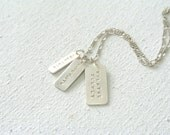 Personalized Message Quote Three Tags Necklace