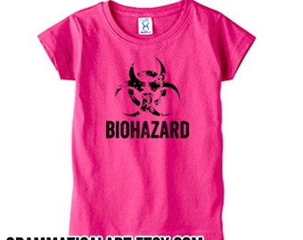 Baby Geekery Gifts For Babies Science Kid Shirt Biohazard Pink Shirt Biology Biochemistry Lab Science Shirt for Kids Girls Typography Tshirt