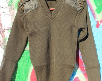 Spiked Shoulder Army Jumper Sweater