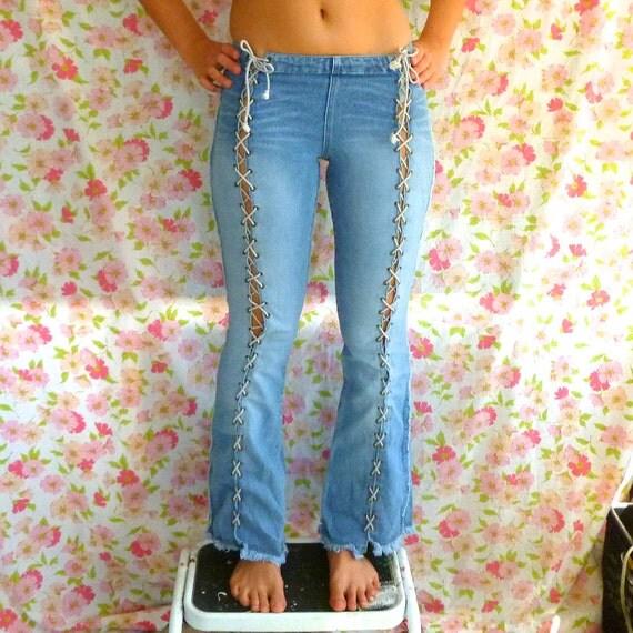 Vintage 90s Lace-up Denim Super Low Cut Flare Jeans Size 2