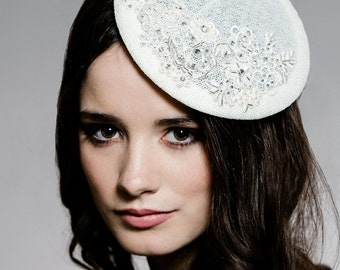 Ivory Fascinator, Bridal Hat, Wedding Headpiece, Crystal Fascinator, Bridal Headpiece, Hair Accessory Fascinator, Lace Fascinator, ANGELIA