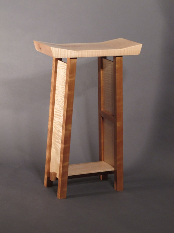 wood bar narrow saddle seat stool handmade custom wood furniture