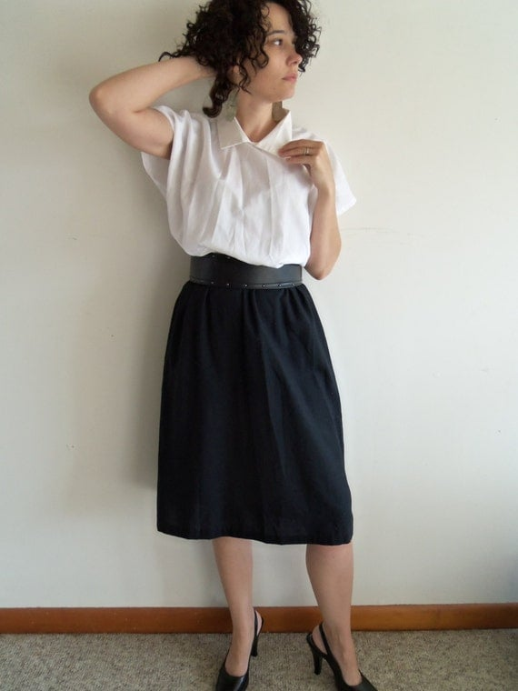 retro sexy secretary black and white dress with sheer top and knit