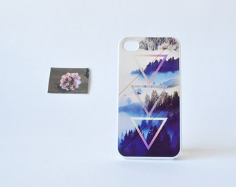 Hipster iPhone 4 Case - Foggy Woods iPhone 4s Case - Geometric Pattern over Woods Print - Plastic iPhone 4 Case - Accessories for iPhone