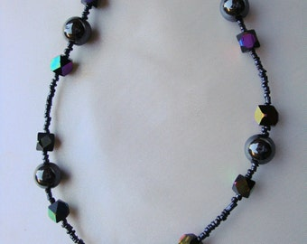 Hematite  necklace Beaded necklace Multi color necklace 26 inch necklace