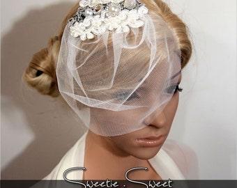 Bridal Veil, Wedding Veil, Bridal Comb, Face Veil, Birdcage Veil, mini veil, Blusher veil, Vintage Flower Fascinator, Head piece HB205