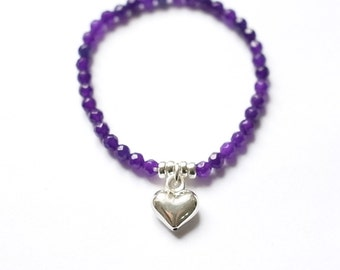 Amethyst bracelet: ultra violet gemstone bracelet with silver heart pendant