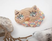 Mrs.Missy Twinkyz Cat with her pastel Geometric Hand Embroidery Brooch - Cat Brooch - Character Brooch - Kitty Brooch - fall