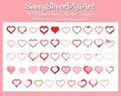 Digital Heart Clipart - Instant Download Digital Clipart, Love Clipart, DIY Printable Hearts, Heart Frames