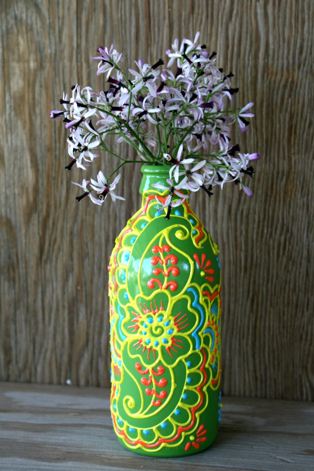 Hand painted glass vase recycled glass bottle candy by for Hand painted glass bottles