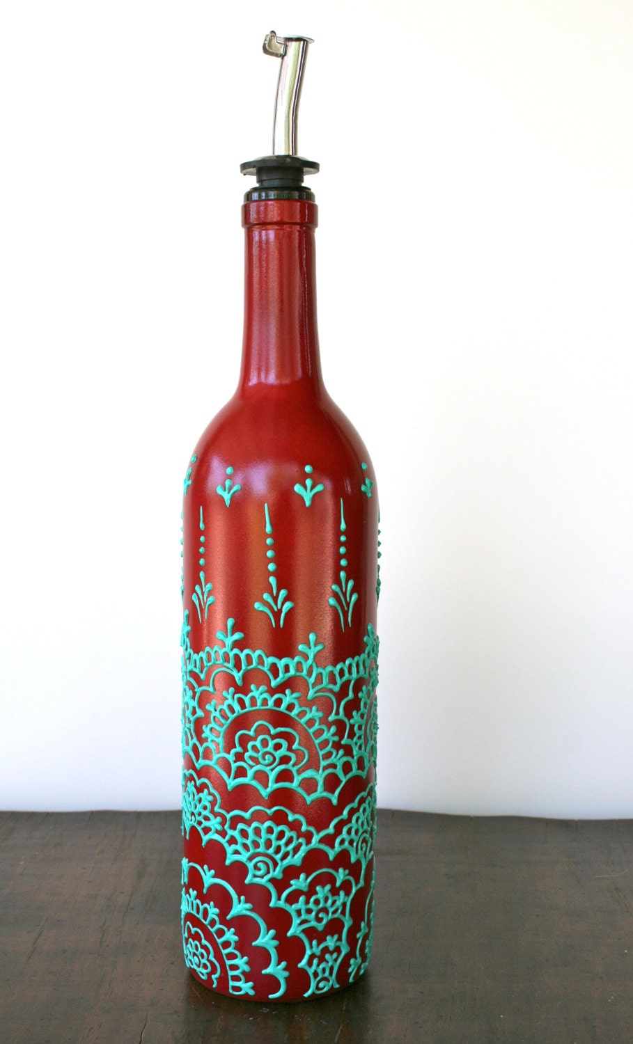 hand painted wine bottle olive oil pourer red and by
