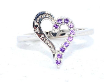 Amethyst Always & Forever Heart Ring .925 Sterling Silver Rhodium Finish