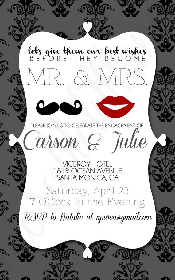 Items similar to romantic lips and mustache mr and mrs for Etsy engagement party invites