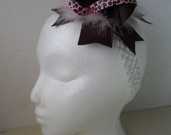 Brown and Pink Animal Print Hair Bow
