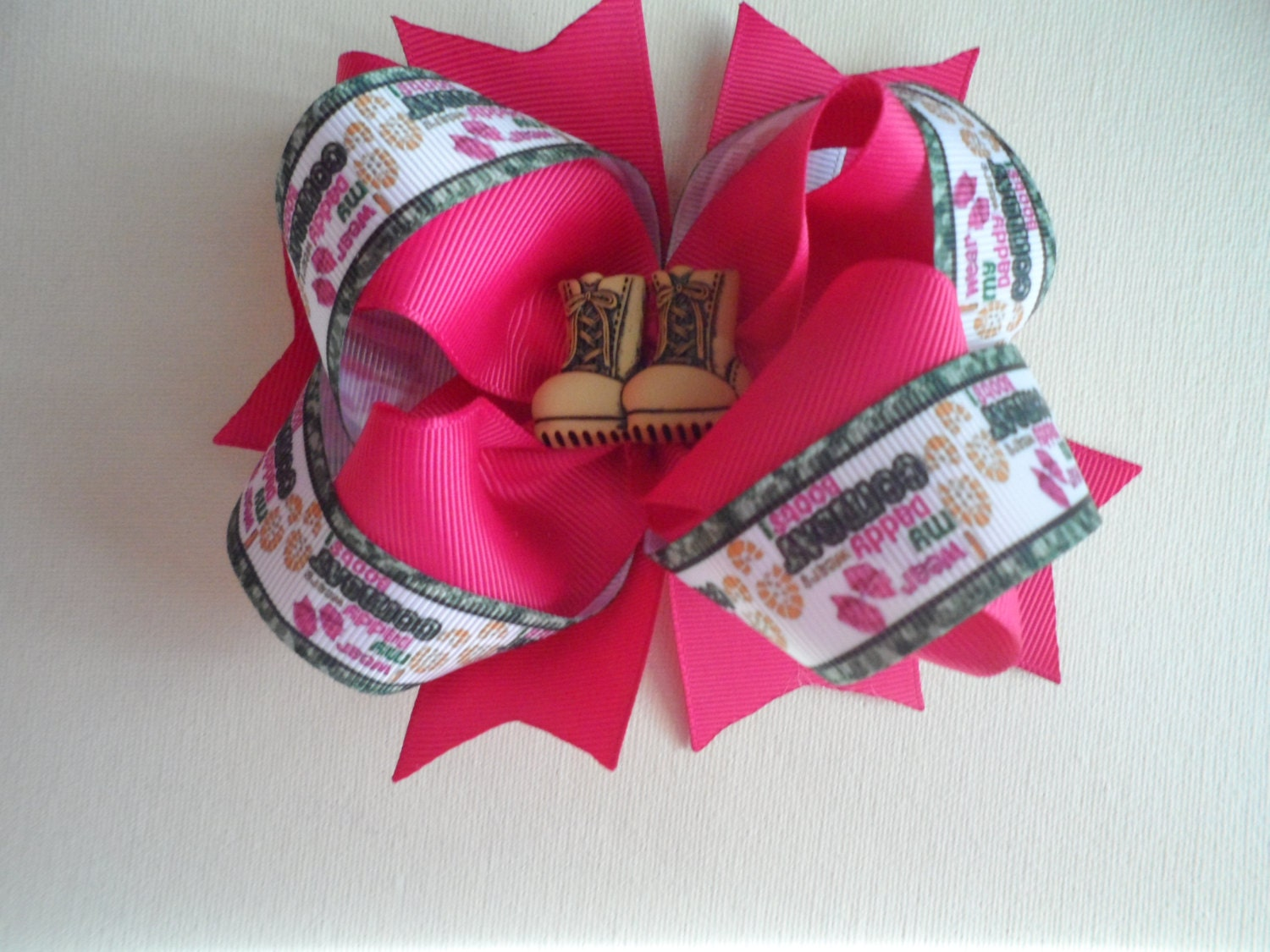 Military Girl Hair Bow I Wear Bows My Daddy Wears Combat Boots