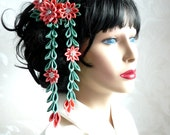 Kanzashi Fabric Flower hair comb with falls.