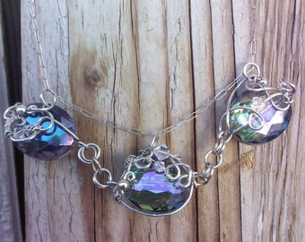 SALE....Sterling Silver Wire Wrapped Statement Necklace