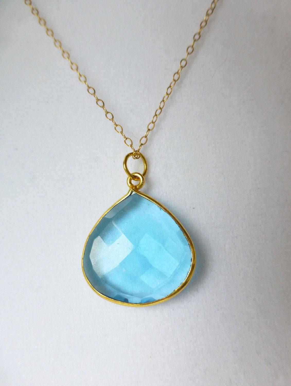 blue quartz necklace sky blue necklace gold charm necklace