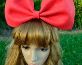 Dusty red oversized bow Black satin headband/bunny/hair accessory/extra large big bow/dolly gothic barbie harajuku lolita costume cosplay