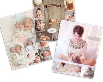 Print Collage Photoshop Template - Three-Pack Bundle - 1079