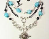 Necklace Earrings Blue Green Marble Nuggets White Pearls Black Silver Gift Set
