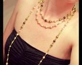Long Necklace Green Light Gold Swarovski crystal Pearls Gift 446