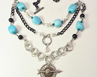 Necklace Blue Green Marble Nuggets White Pearls Black Silver Gift